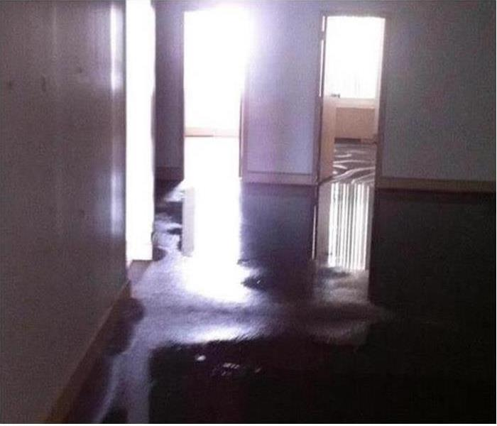 Flood waters inside a building
